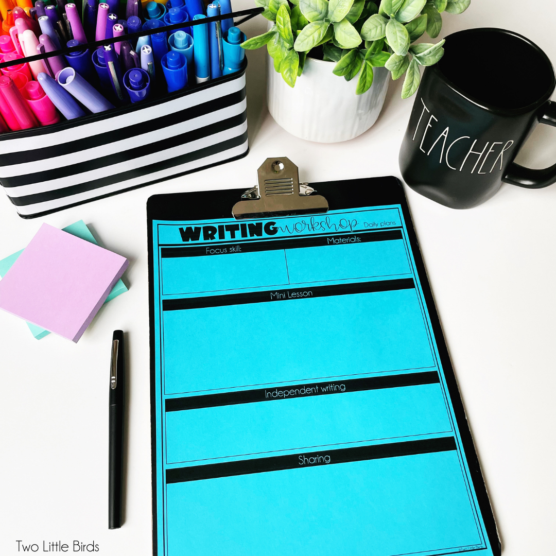 Writing workshop planning page