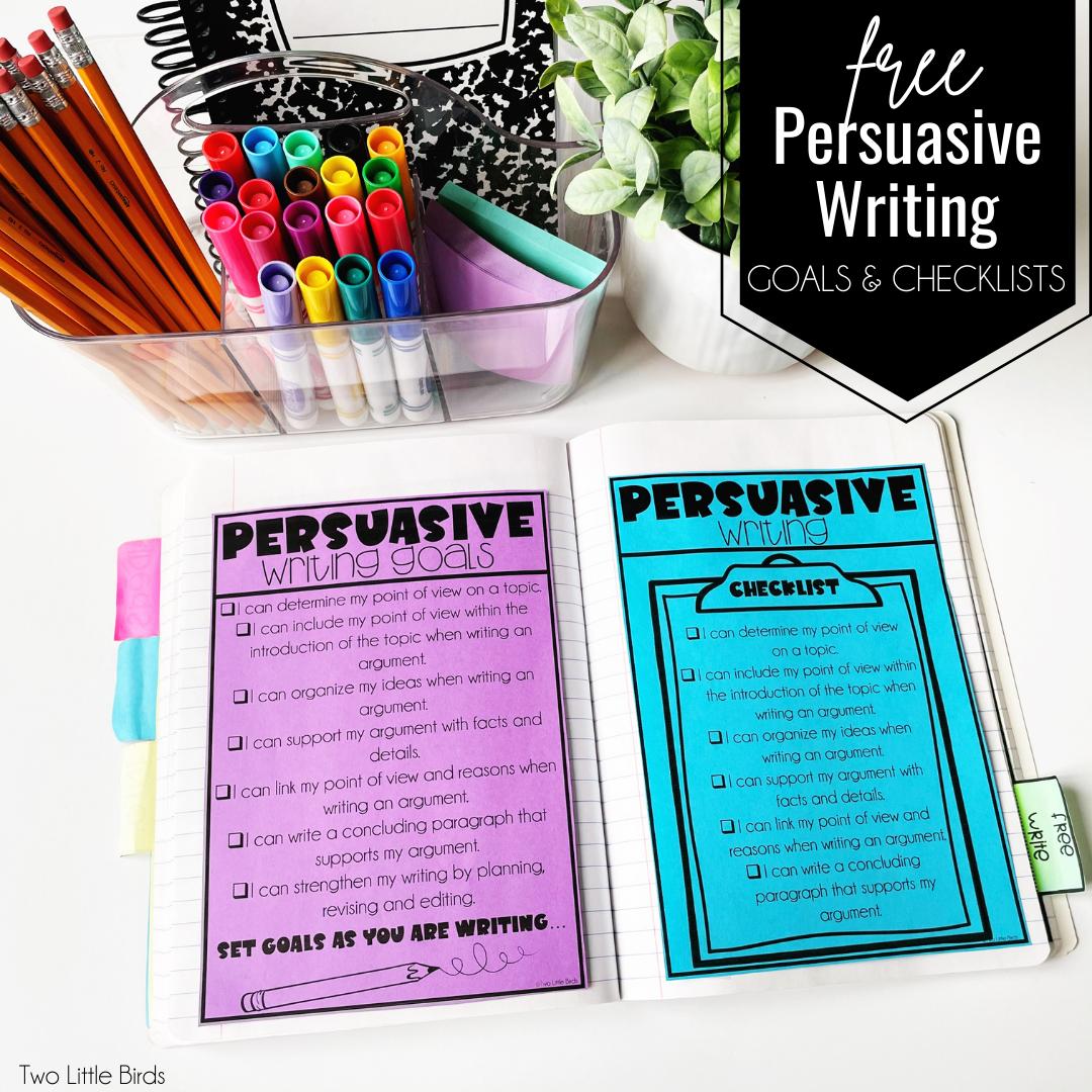 persuasive writing checklists